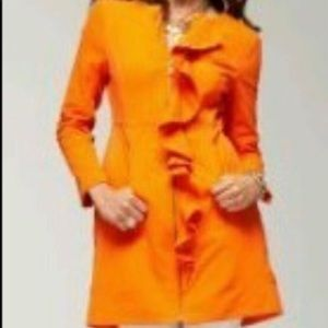 BEBE Orange Ruffle Coat Jacket